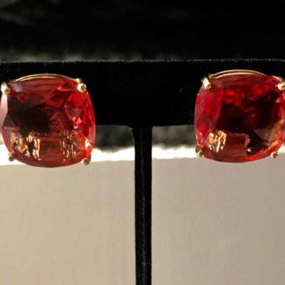 Jewelry - Orange & Gold Clip Jewel Earrings